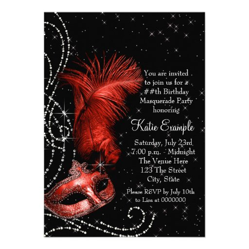 Elegant Black and Red Masquerade Party Cards (back side)