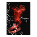 Elegant Black and Red Masquerade Party Personalized Announcements