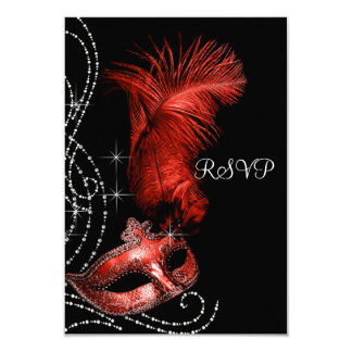 """Elegant Black and Red Masquerade Party RSVP 3.5"""" X 5"""" Invitation Card"""