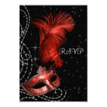 Elegant Black and Red Masquerade Party RSVP Custom Announcements