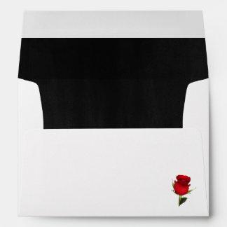 Elegant Black and Red Rose Wedding Envelope