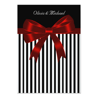 Elegant Black and Red Stripe Wedding Card