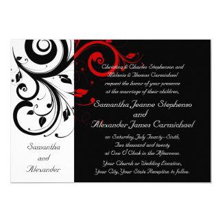 Elegant Black and Red Vines Wedding Invitations