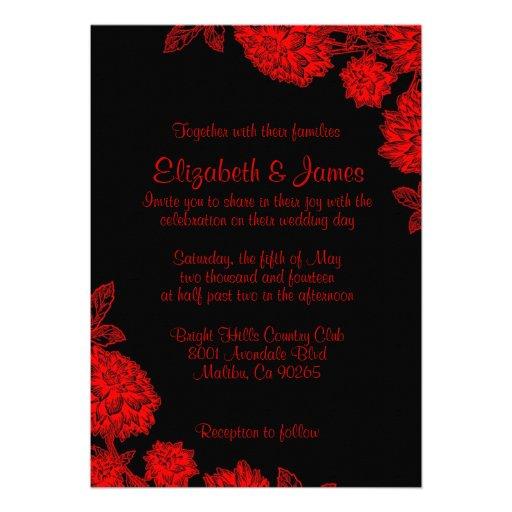 Elegant Black And Red Wedding Invitations