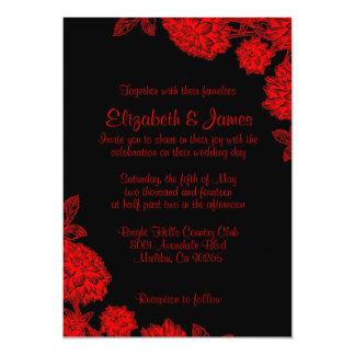 "Elegant Black And Red Wedding Invitations 5"" X 7"" Invitation Card"