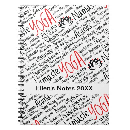 Elegant Black and Red Yoga Positions Lotus Blossom Journal