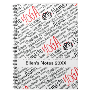 Elegant Black and Red Yoga Positions Lotus Blossom Spiral Notebook