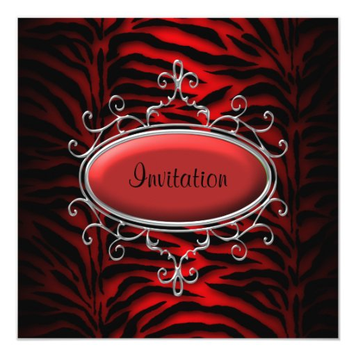 Elegant Black and Red Zebra Party 5.25x5.25 Square Paper Invitation Card