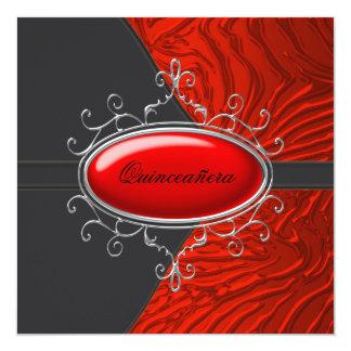 Elegant Black and Red Zebra Quinceanera Card