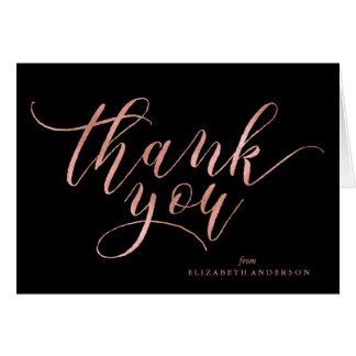 Elegant Black and Rose Gold Script Thank You Card