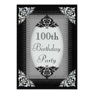 Elegant Black and Silver 100th Birthday Card