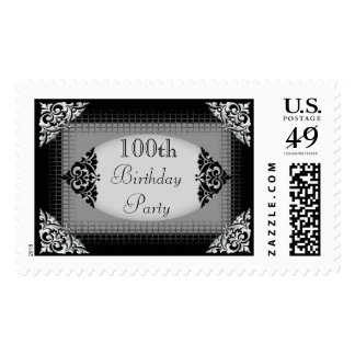 Elegant Black and Silver 100th Birthday Party Postage