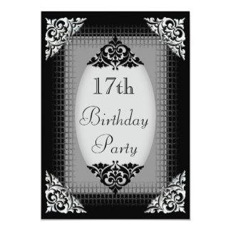 Elegant Black and Silver 17th Birthday Card