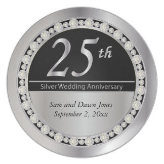 Elegant Black and Silver 25th Silver Anniversary Dinner Plate