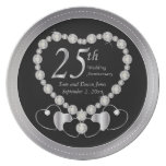 Elegant Black and Silver 25th Silver Anniversary Melamine Plate