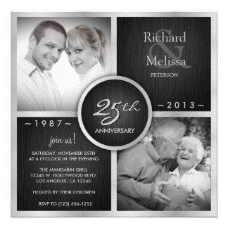 Elegant Black and Silver 25th Wedding Anniversary Custom Announcements