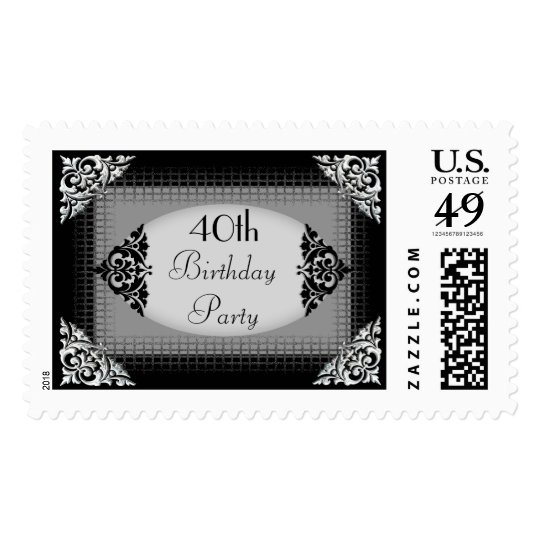Elegant Black and Silver 40th Birthday Party Postage Stamp