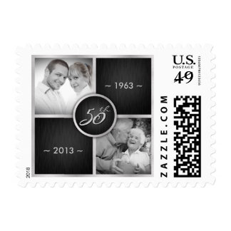 Elegant Black and Silver 50th Wedding Anniversary Stamp