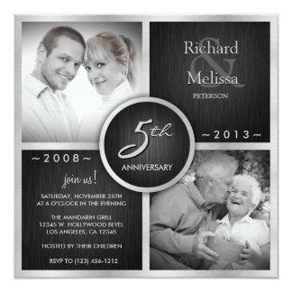 Elegant Black and Silver 5th Wedding Anniversary Invitation