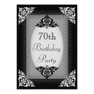 Elegant Black and Silver 70th Birthday Card