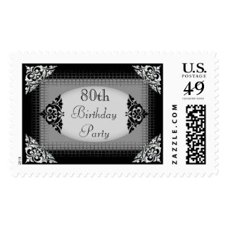 Elegant Black and Silver 80th Birthday Party Postage Stamps