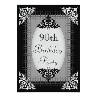 Elegant Black and Silver 90th Birthday Card