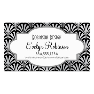 Elegant Black and Silver Art Deco Double-Sided Standard Business Cards (Pack Of 100)