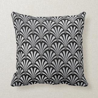 Elegant Black and Silver Art Deco Pillow