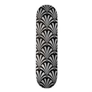 Elegant Black and Silver Art Deco Custom Skate Board