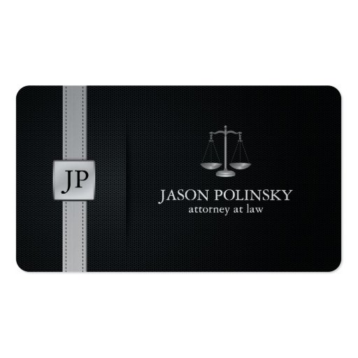 Elegant Black and Silver Attorney At Law Business Card Template