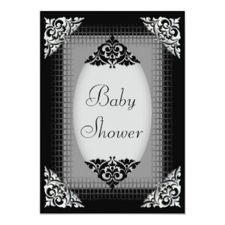 Elegant Black and Silver Baby Shower Card