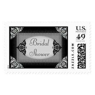 Elegant Black and Silver Bridal Shower Postage