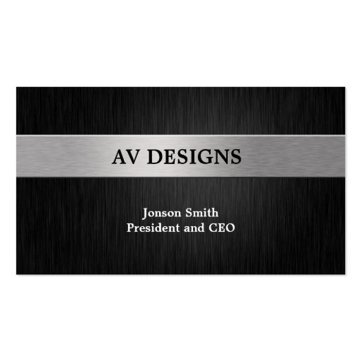 Elegant Black and Silver Business Card