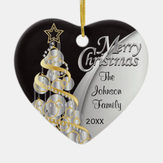 Elegant Black and Silver Christmas | Customize Double-Sided Heart Ceramic Christmas Ornament