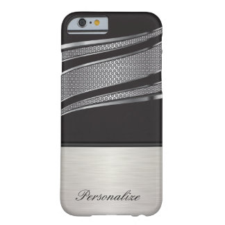 Elegant Black and Silver Chrome Mesh Barely There iPhone 6 Case
