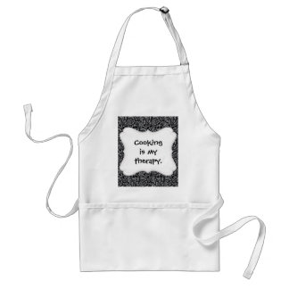 Elegant Black and Silver Damask Floral Pattern Adult Apron