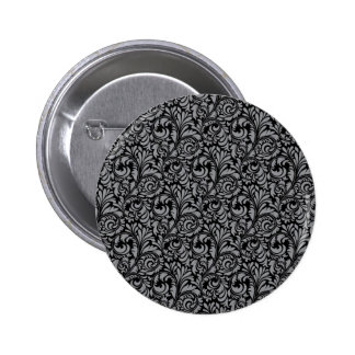 Elegant Black and Silver Damask Floral Pattern Button