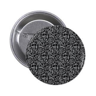 Elegant Black and Silver Damask Floral Pattern Button