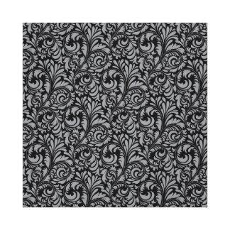 Elegant Black and Silver Damask Floral Pattern Canvas Print