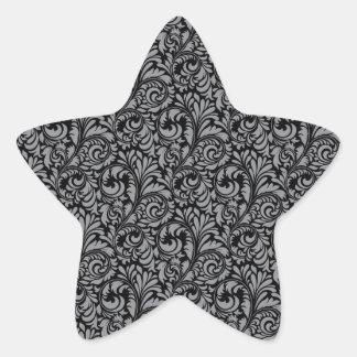 Elegant Black and Silver Damask Floral Pattern Star Sticker