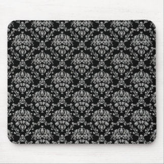 Elegant Black and Silver Damask Mousepad