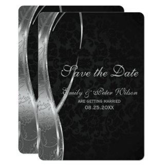 Elegant Black And Silver Damask-Save The Date