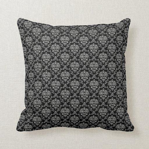 Black Silver Throw Pillow : Elegant Black and Silver Damask Throw Pillow Zazzle