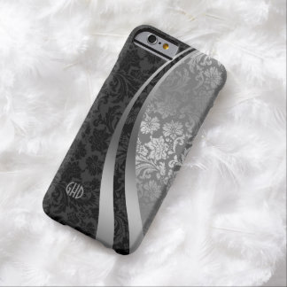 Elegant Black And Silver Damasks Dynamic Stripes 2 Barely There iPhone 6 Case