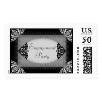 Elegant Black and Silver Engagement Party Postage