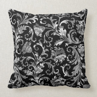 Elegant Black And Silver Floral Damask Throw Pillow