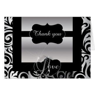 Elegant Black and Silver Florid Design | Diy Words Card