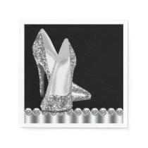 Elegant Black and Silver Glitter High Heel Shoe Paper Napkin