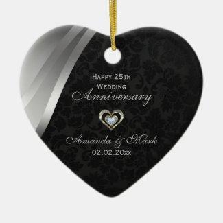 Elegant Black And Silver Gray 25th Anniversary