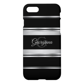Elegant Black And Silver Gray Design Monogram iPhone 8/7 Case